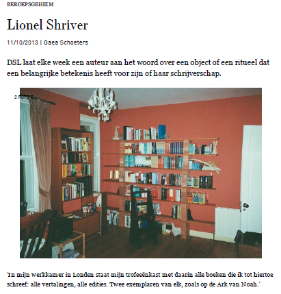 De trofeekast van Lionel Shriver