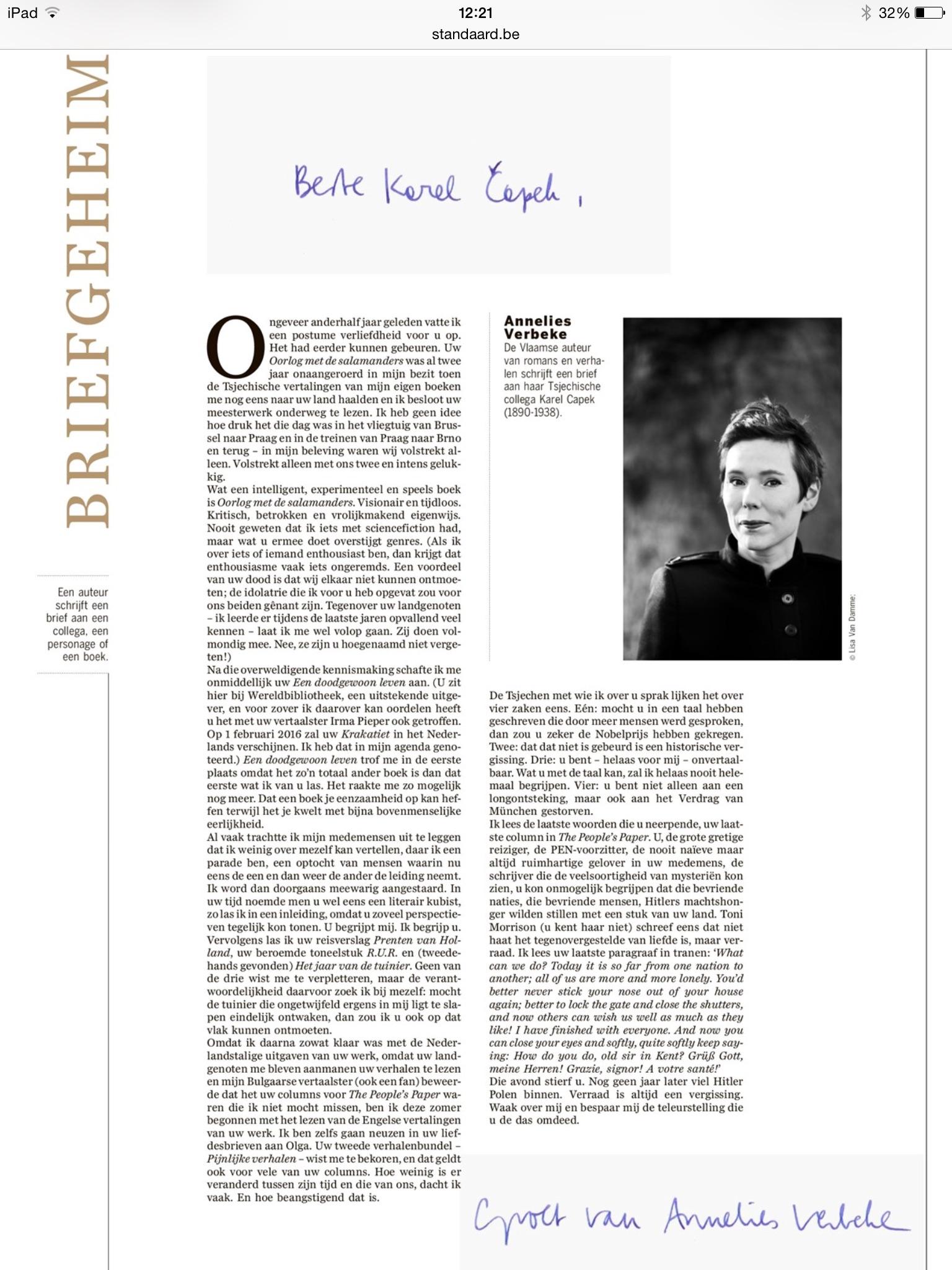 Annelies Verbeke schrijft Karel capek #briefgeheim