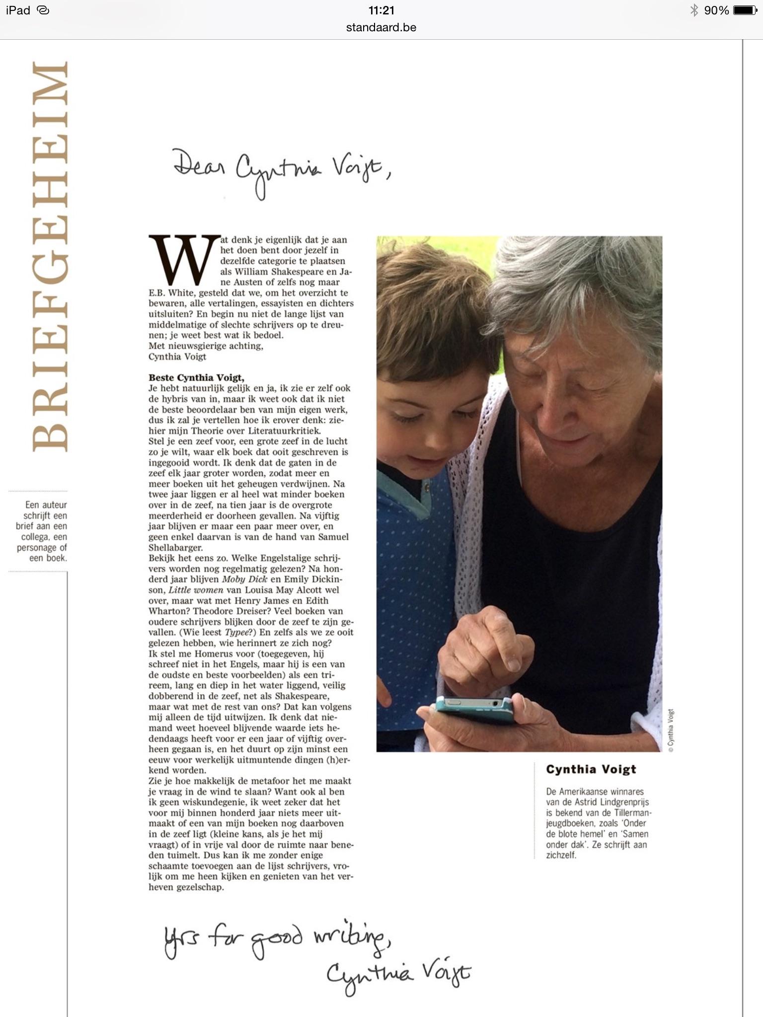 Cynthia Voigt schrijft Cynthia Voigt #briefgeheim #DSLetteren