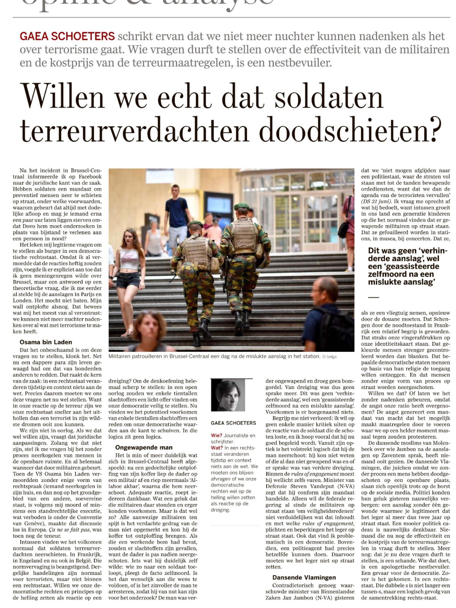 Willen we echt dat militairen terroristen neerschieten? #dsopinie