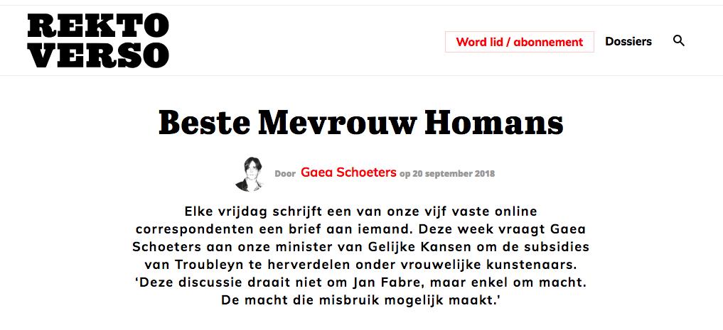 Beste Liesbeth Homans #rektoverso
