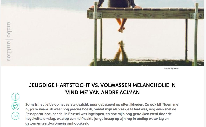 Vind me — André Aciman #recensie #ZIZO